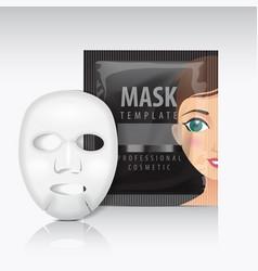 Facial sheet mask with sachet black mock vector