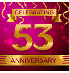 fifty three years anniversary celebration design vector image