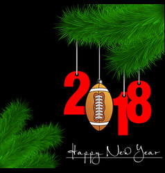 Football ball and 2018 on a christmas tree branch vector