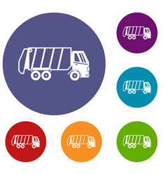 garbage truck icons set vector image