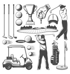 Golf sporting items player monochrome icons vector