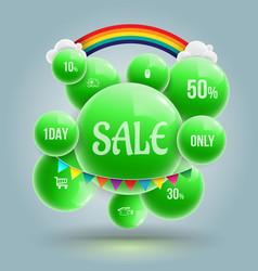 green balls sale banner vector image