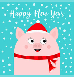 Happy new year pig wearing red santa hat scarf vector