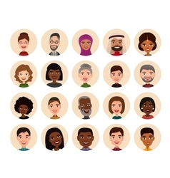 Happy people round avatar icon set vector