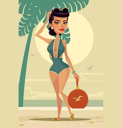 Happy smiling woman mascot character the beach vector