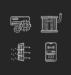 Heating and conditioning chalk white icons set vector