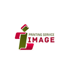 i letter icon for printing service vector image