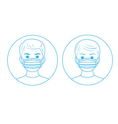 Instructions for use medical mask line art design vector