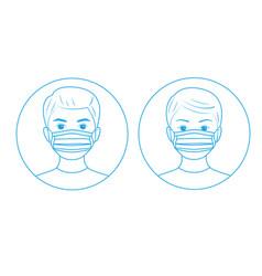 instructions for use medical mask line art design vector image