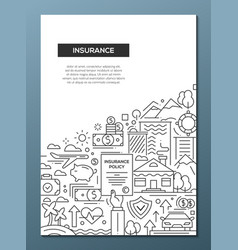 Insurance - line design brochure poster template vector