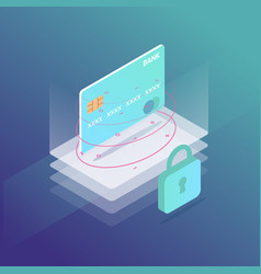 isometric credit card security vector image