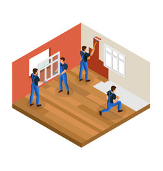 isometric home renovation concept vector image