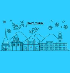 Italy turin winter holidays skyline merry vector
