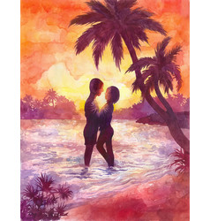Loving couple a girl and a guy on the beach vector