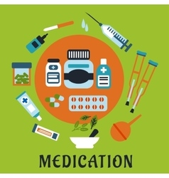 Medication icons with drugs and tools vector