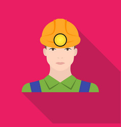 miner icon in flat style isolated on white vector image