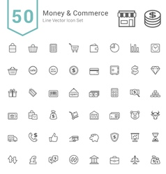 Money and Commerce Line Icon Sets vector