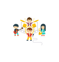 music kids band children playing different vector image