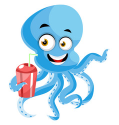 Octopus with drink on white background vector