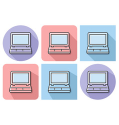outlined icon of laptop with parallel and not vector image