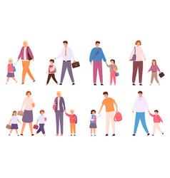 Parents take children to school crowd happy vector