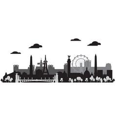 paris skyline silhouette 1 vector image