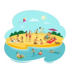 People rest on the beach cartoon vector