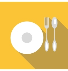 Plate with cutlery icon flat style vector