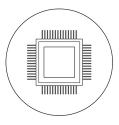 processor icon black color in circle or round vector image