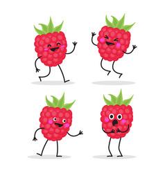 raspberry cute fruit character set vector image