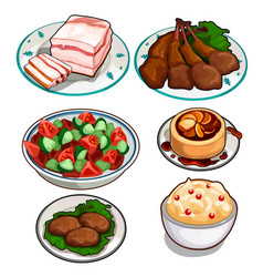 Salad chicken cutlets pudding mousse and lard vector