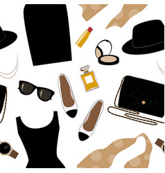 Seamless background with retro fashion objects vector