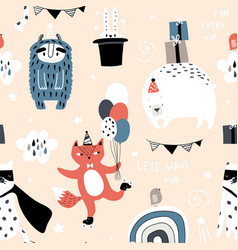 seamless childish pattern with cute monster fox vector image