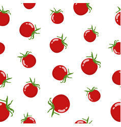 seamless pattern with fresh red tomato vegetable vector image