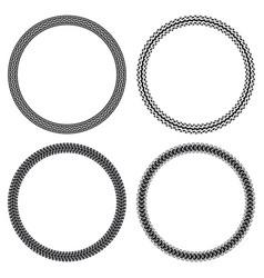 Set car motorcycle bicycle tank tire tracks vector