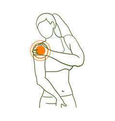 Shoulder pain pointer in female anatomy silhouette vector