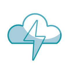 Silhouette cloud and thunder storm weather vector