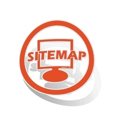 Sitemap sign sticker orange vector image