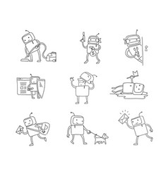 sketch robot set character with business house vector image