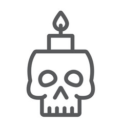 skull with candle line icon spooky and decor vector image