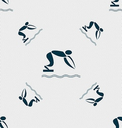 Summer sports diving icon sign Seamless pattern vector image