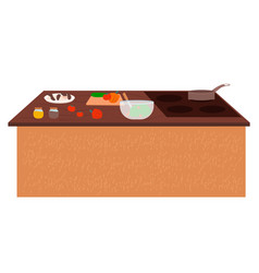 table with stove kitchenware and vegetables vector image