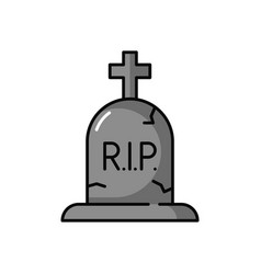 Tombstone and cross icon rip headstone isolated vector