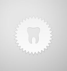 Tooth shape on the background of the circle with vector image