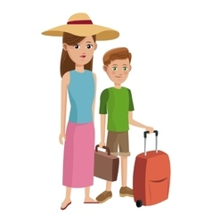 traveler woman and boy tourist with suitcase hat vector image