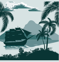 tropical landscape view from the shore with palm vector image