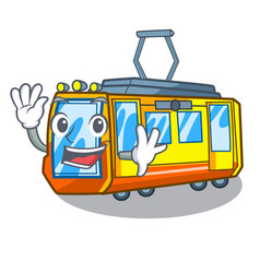 waving electric train isolated with cartoon vector image
