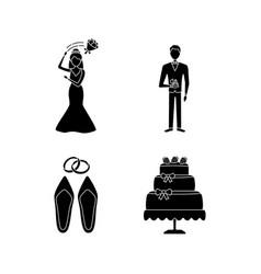 wedding planning glyph icons set vector image