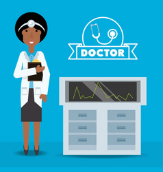 Woman doctor with his consulting room vector