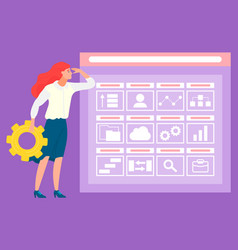 woman with cogwheel screen icons data analysis vector image